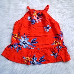 ❤Old Navy Red Floral Print Tank Size XS 5🌺